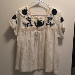 Thml embroidered floral boho top medium Nwt